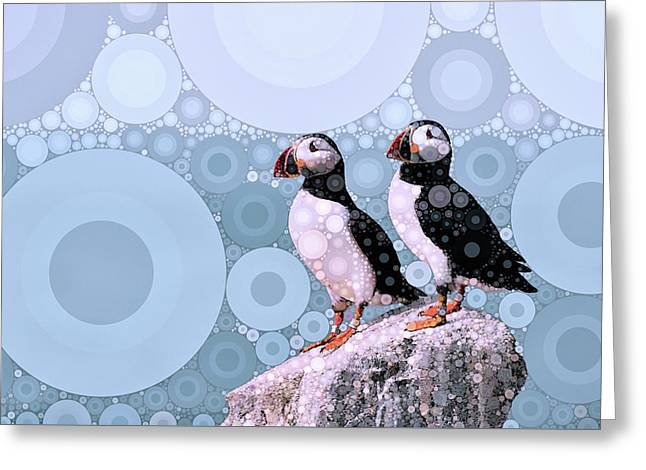 Puffins By The Sea Greeting Card