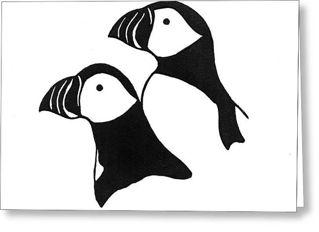Puffins Linocut Greeting Card by Ed Einboden