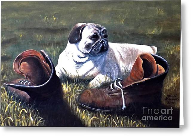 Pug And Boots Greeting Card