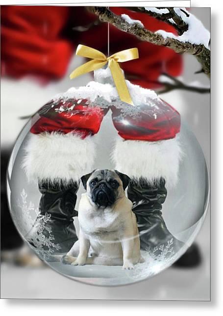 Pug And Santa Greeting Card