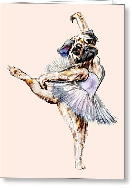 Pug Ballerina Dog Greeting Card by Notsniw Art