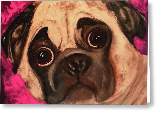 Pug - Chloe Greeting Card by Laura  Grisham
