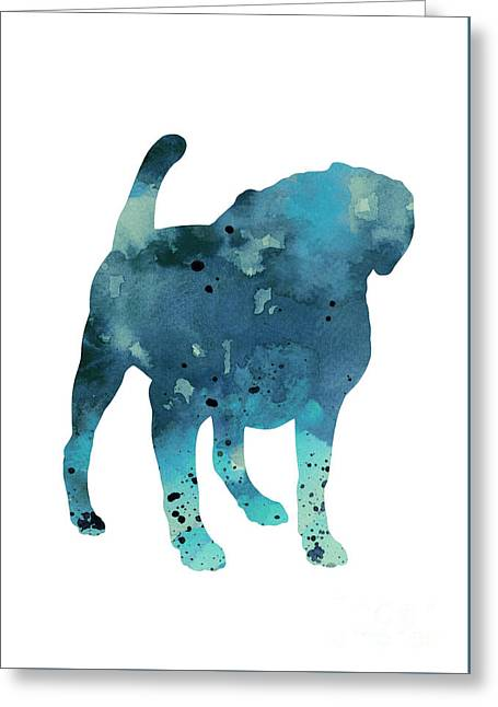 Pug Dog Watercolor Poster Greeting Card by Joanna Szmerdt