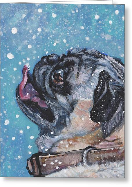 Greeting Card featuring the painting Pug In The Snow by Lee Ann Shepard