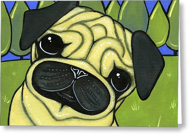 Pug Greeting Card by Leanne Wilkes