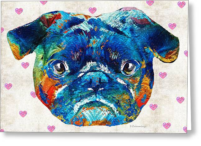 Pug Love Dog Art By Sharon Cummings Greeting Card