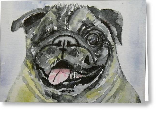One Eyed Pug Portrait Greeting Card