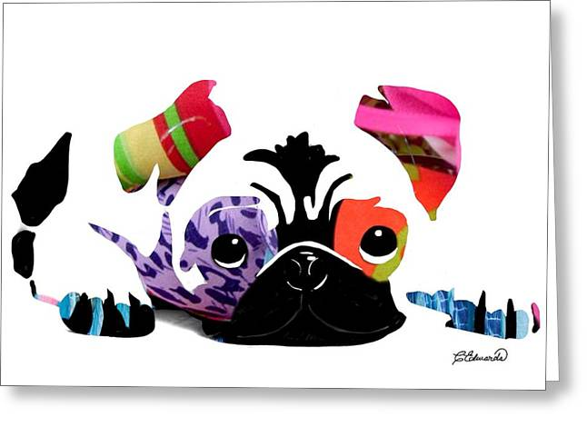 Pug Pup Greeting Card by Cindy Edwards