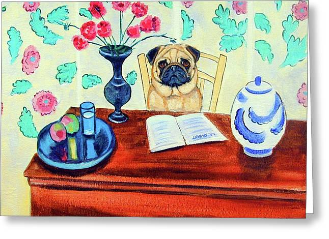 Pug Scholar Greeting Card by Lyn Cook
