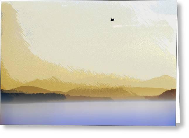 Puget Sound - Sunset Mist  Greeting Card by Steve Ohlsen