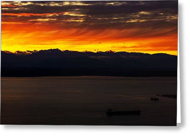 Puget Sound Olympic Mountains Sunset Greeting Card by Mike Reid