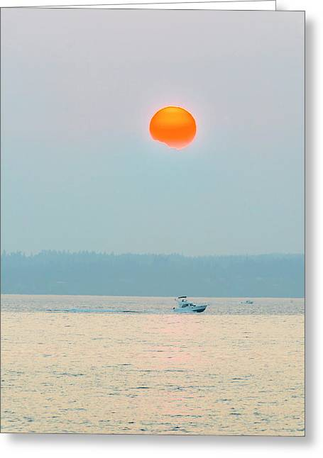 Puget Sound Under The Heavy Smoke Greeting Card
