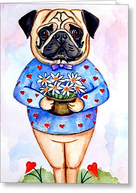 Pugfully Yours - Pug Greeting Card by Lyn Cook