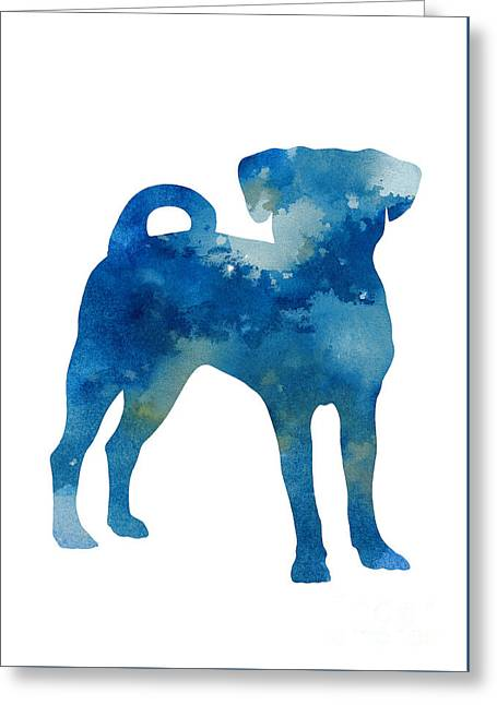 Puggle Abstract Dog Watercolor Poster Greeting Card by Joanna Szmerdt