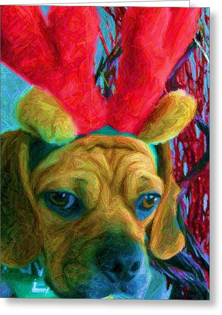 Greeting Card featuring the photograph Puggle Holiday by Susan Carella