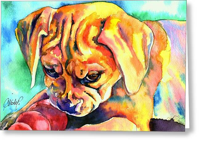 Puggle Playtime Greeting Card