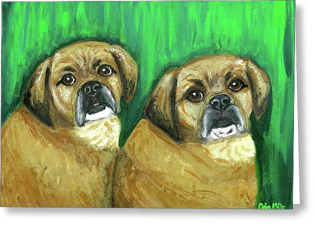 Puggle Greeting Cards - Puggles Bruno and Louie Greeting Card by Ania M Milo