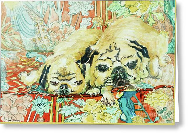 Pugs On A Chinese Print Sofa Greeting Card by Joan Thewsey