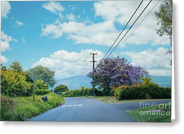 Pulehuiki Road Upcountry Kula Maui Hawaii Greeting Card by Sharon Mau