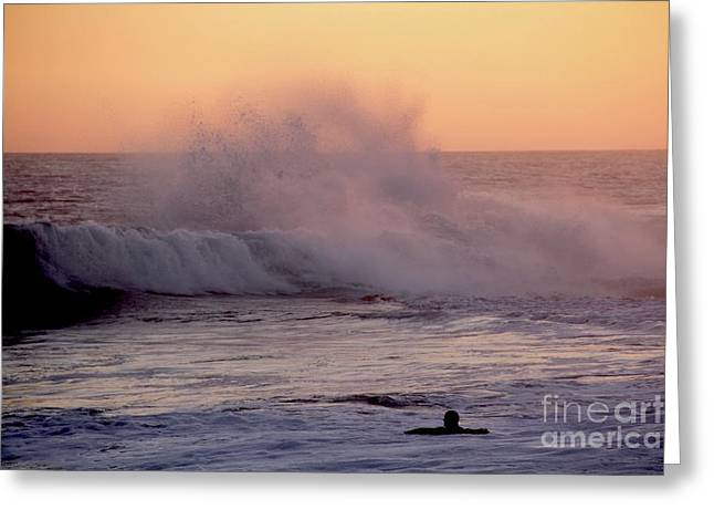 Pull Of The Full Moon At The Wedge Newport Beach Greeting Card