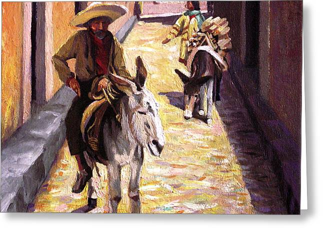 Pulling Up The Rear In Mexico Greeting Card by Nancy Griswold