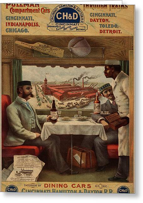 Pullman Compartment Cars Dining Cars Vintage Train Poster Greeting Card by Design Turnpike