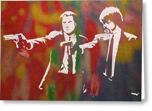 Pulp Fiction Movie Minimal Silhouette Watercolor Painting Greeting Card
