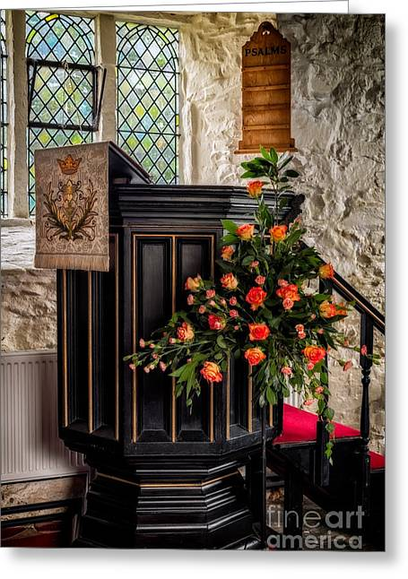 Pulpit And Flowers Greeting Card by Adrian Evans