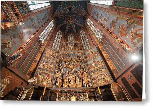 Pulpit In St. Mary's Basilica Interior In Krakow Greeting Card by Artur Bogacki