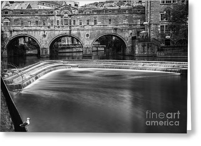 Pulteney Bridge In Mono Greeting Card by Sandra Cockayne