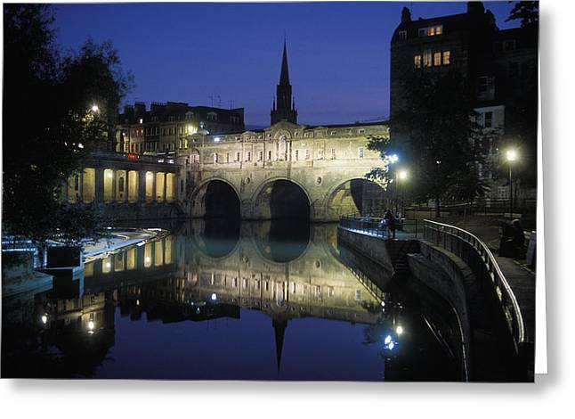 Pulteney Bridge Over The Avon River Greeting Card by Richard Nowitz