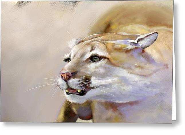 Puma Action Greeting Card by Arie Van der Wijst