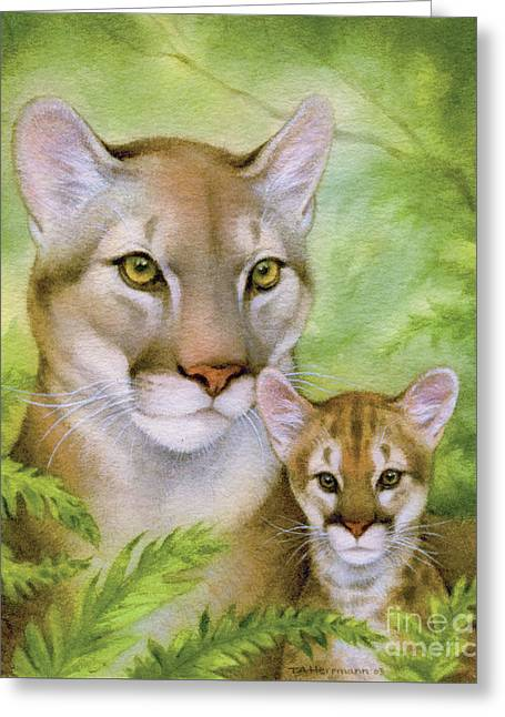Puma And Cub Greeting Card
