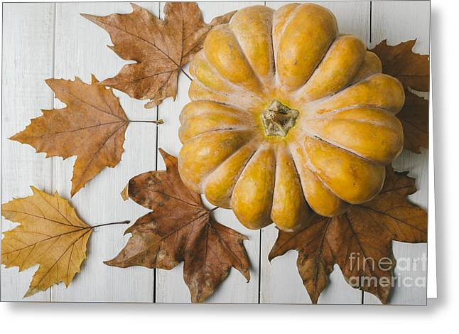 Pumkin And Maple Leaves Greeting Card by Jelena Jovanovic