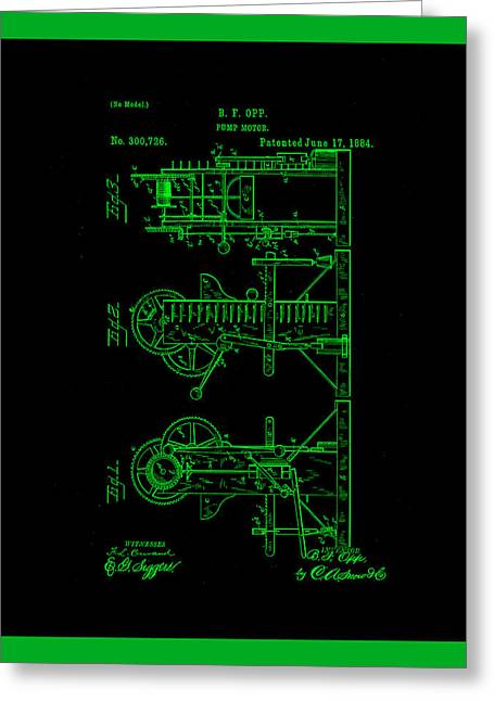 Pump Motor Patent Drawing 1a Greeting Card by Brian Reaves