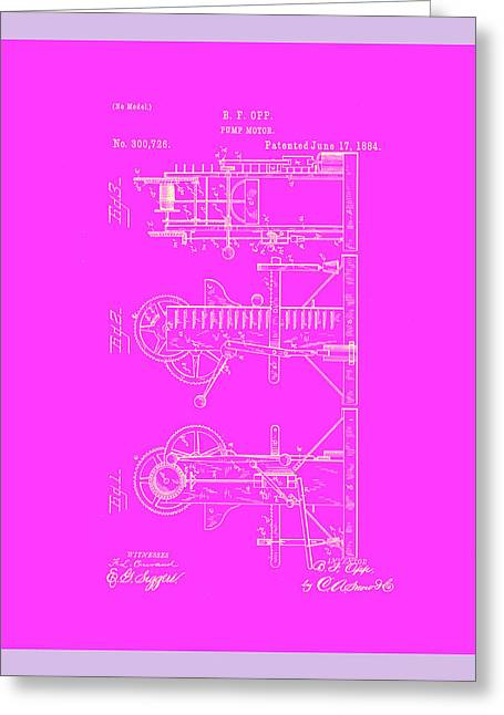 Pump Motor Patent Drawing 1c Greeting Card by Brian Reaves