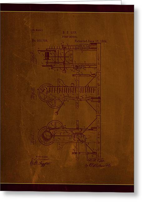 Pump Motor Patent Drawing 1d Greeting Card by Brian Reaves