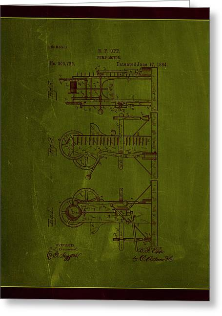 Pump Motor Patent Drawing 1e Greeting Card by Brian Reaves