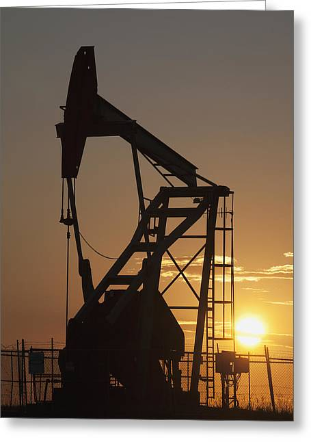 Pumpjack Silhouette Greeting Card by Michael Interisano