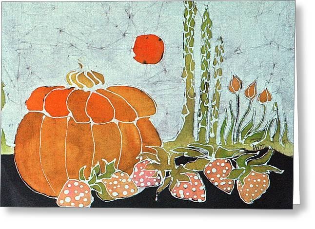 Strawberry Tapestries - Textiles Greeting Cards - Pumpkin and Asparagus Greeting Card by Carol  Law Conklin