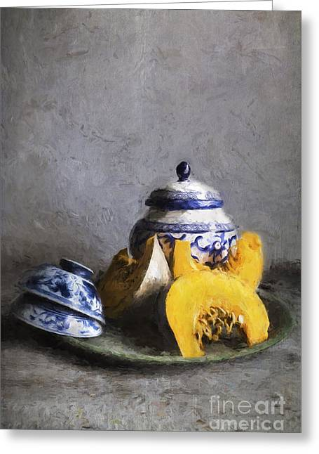 Pumpkin And Blue And White China Greeting Card
