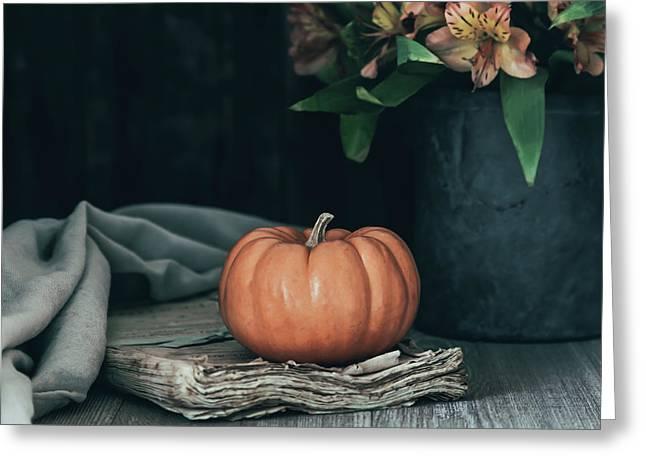 Pumpkin And Flowers Still Life Greeting Card by Kim Hojnacki