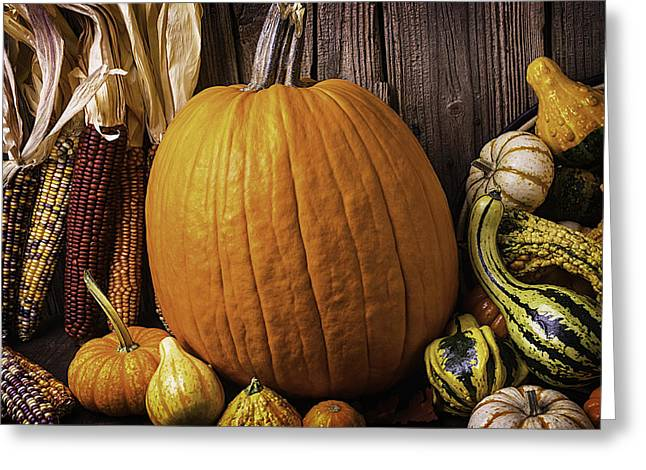 Pumpkin And Gourds With Indian Corn Greeting Card by Garry Gay