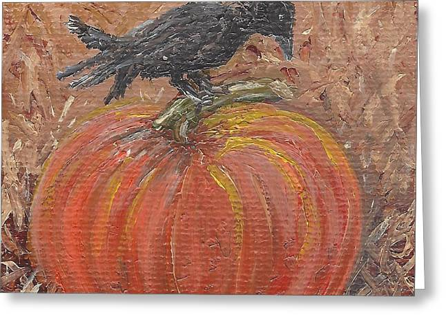 Pumpkin Crow Greeting Card