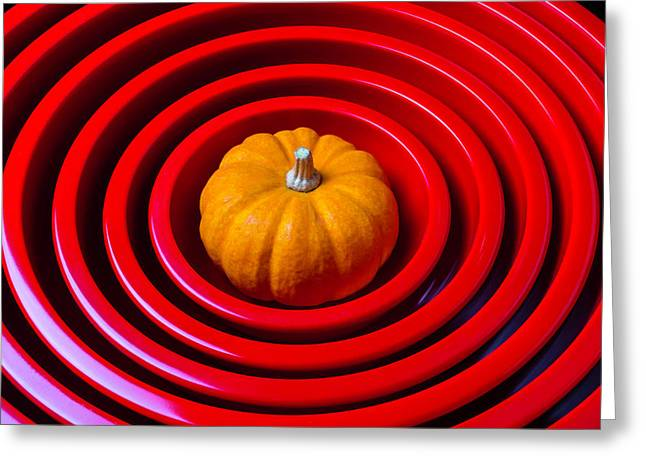 Pumpkin In Mixing Bowls Greeting Card