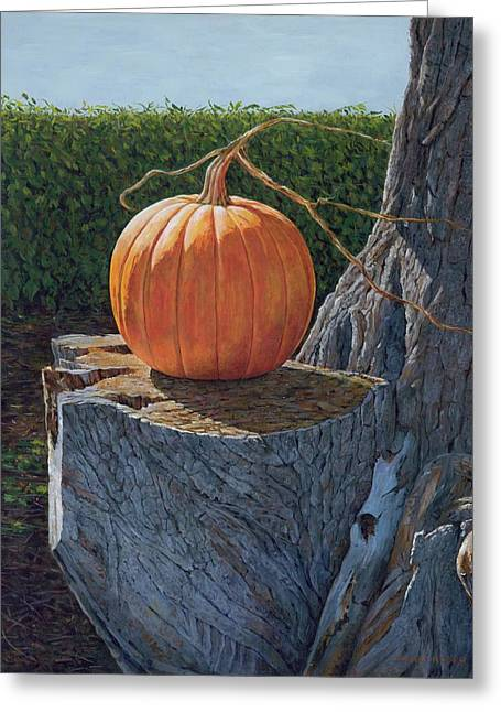 Pumpkin On A Dead Willow Greeting Card