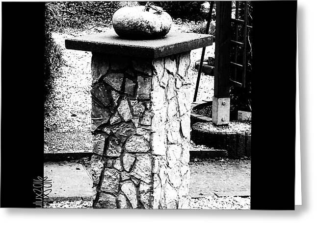 Greeting Card featuring the photograph Pumpkin On A Pedestal by Mimulux patricia no No