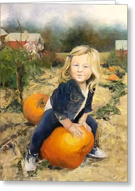Pumpkin Patch Greeting Card by Lori Ippolito