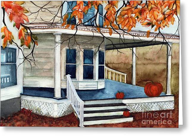 Pumpkin Porch - Halloween House Greeting Card by Janine Riley