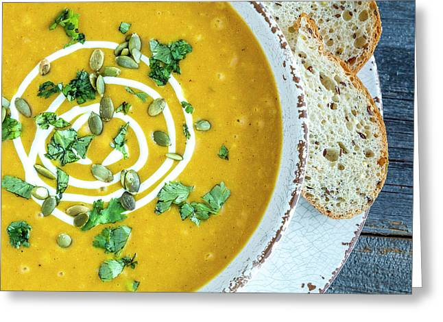 Pumpkin Soup For Dinner Greeting Card by Teri Virbickis
